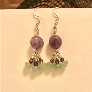 Handmade Amethyst & Adventure Dangle Earrings